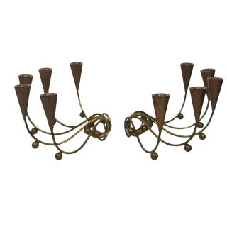 Modernist Pair of Brass and Copper Ball Candelabra For Sale