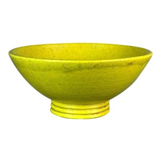Large Stoneware Coupe Ceramic Bowl in Yellow Glaze by French Potter Edmond Lachenal For Sale