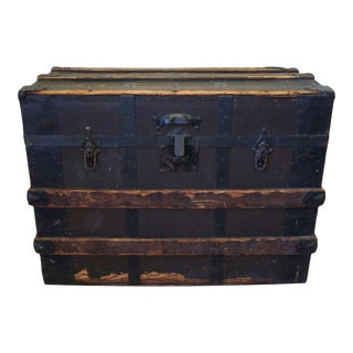 19th Century Antique Wood & Iron Trunk