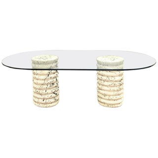 Brutalist Keystone Pedestal Glass Top Dining Table For Sale