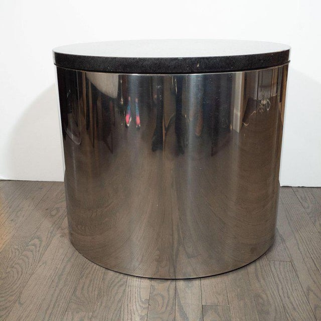 Chrome Mid-Century Modern Cylindrical Drum Form Chrome and Granite Occasional Table For Sale - Image 7 of 9