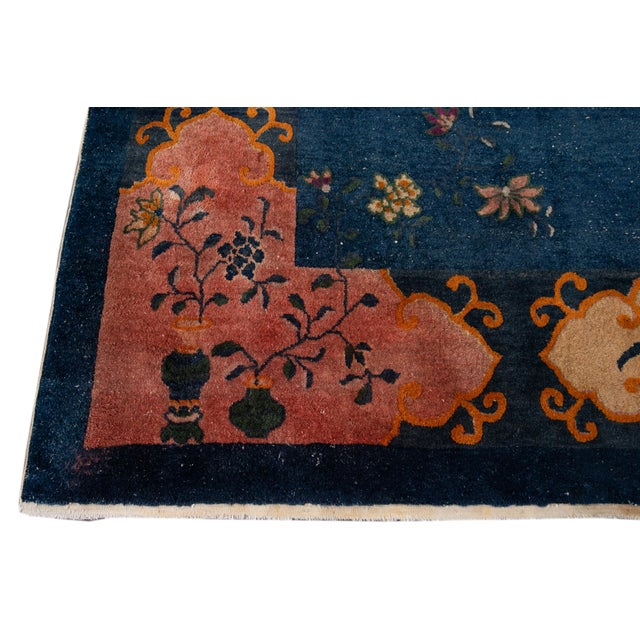 Navy Blue Early 20th Century Antique Art Deco Chinese Square Wool Rug 13 X 12 For Sale - Image 8 of 13