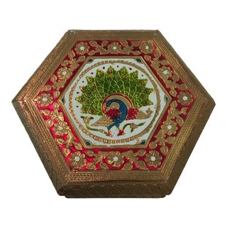 Embossed Peacock Hexagon Box For Sale