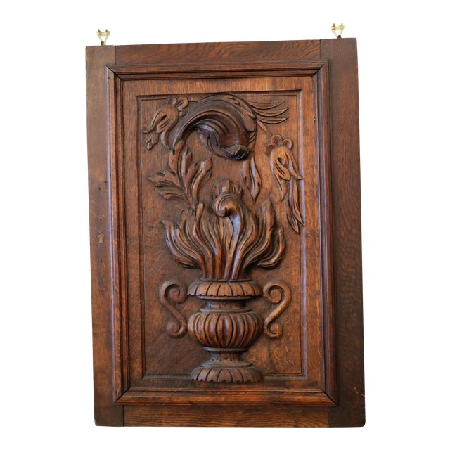Antique European Carved Walnut Panel For Sale