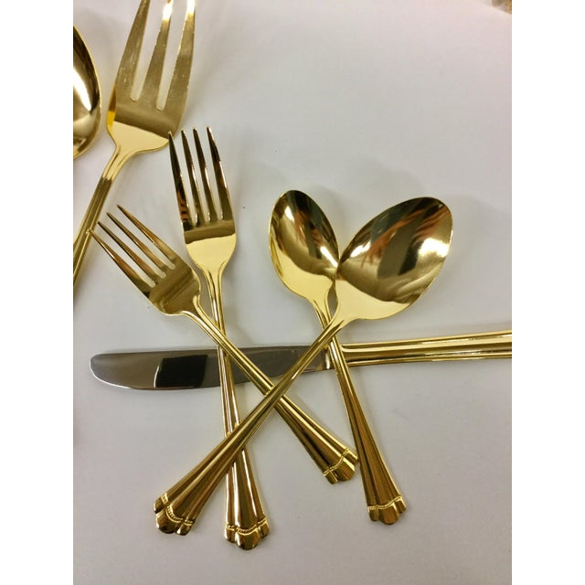 Vintage Gold Tone Flatware by Farberware - Serving for 8 For Sale - Image 10 of 11