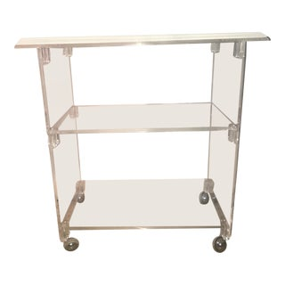 Vintage Mid Century Modern Lucite Rolling Bar Cart For Sale