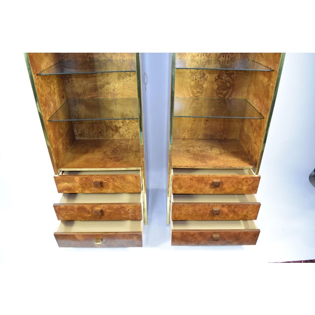 Founders Furniture Company Milo Baughman Styled Burled Walnut Wall Units by Founders of Thomasvile - A Pair For Sale - Image 4 of 10