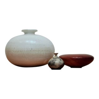 Sculptural Pottery & Turned Wood Vessel Grouping, Set of 3 For Sale