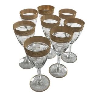Vintage 1930s Tiffin Franciscan Gold Cordial Glasses Set of 8 For Sale
