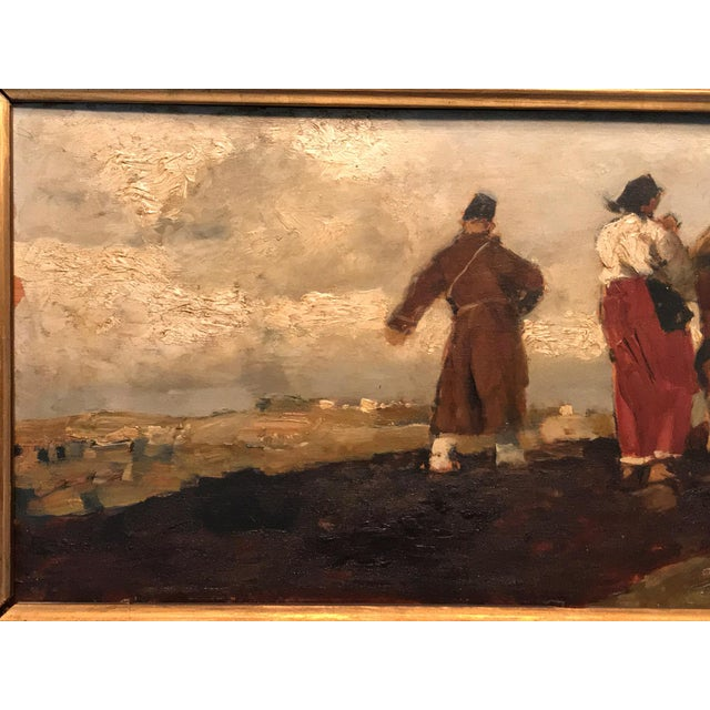 Italian Early 20th Century Antique Alessio Issupoff Russian Peasant Scene Oil on Panel Painting For Sale - Image 3 of 13