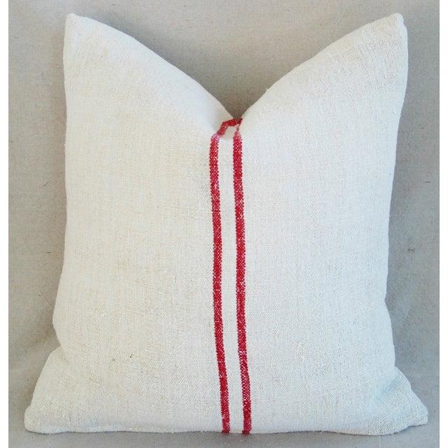 French Grain Sack Monogram Pillow - Image 5 of 7
