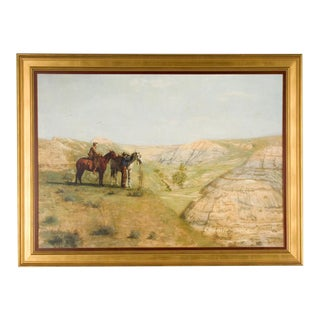 """""""Cowboys in the Badlands"""" Framed Canvas Print of Western Painting by Thomas Eakins, 1888 For Sale"""