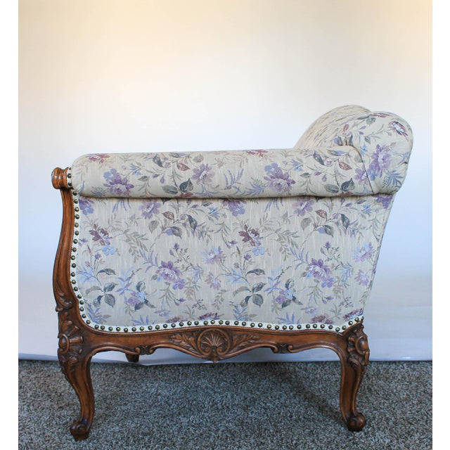Antique Sofa W/ Carved Wood & Feather Down Cushion For Sale In Milwaukee - Image 6 of 13
