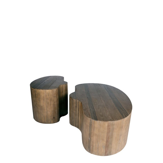 Portia Elm Wood Side Table For Sale - Image 4 of 5