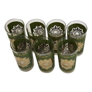 Mid-Century Avocado & Gold Glasses - Set of 7