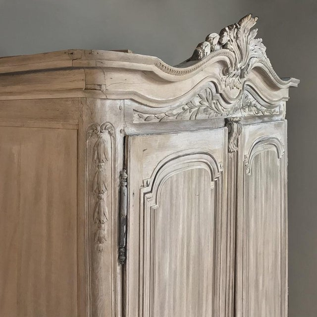 18th Century Country French Louis XVI Period Whitewashed Armoire For Sale - Image 10 of 12