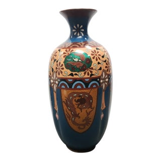 Late 19th Century Japanese Cloisonne Dragon/Phoenix Motifs Lobed Baluster Vase For Sale