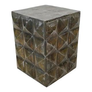Vintage Metal Prism Side Table For Sale