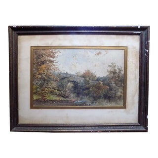 19th Century Watercolor by Philip Mitchell Ivy Bridge Plymouth Dartmoor, Framed For Sale