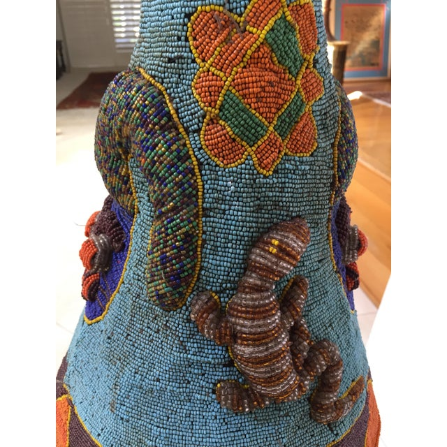 1940s Yoruba Nigeria African Royal Beaded Headdress Crown on Lucite Stand For Sale - Image 5 of 13
