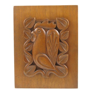 French Mid-Century Modern Wooden Wall Panel Sculpture For Sale