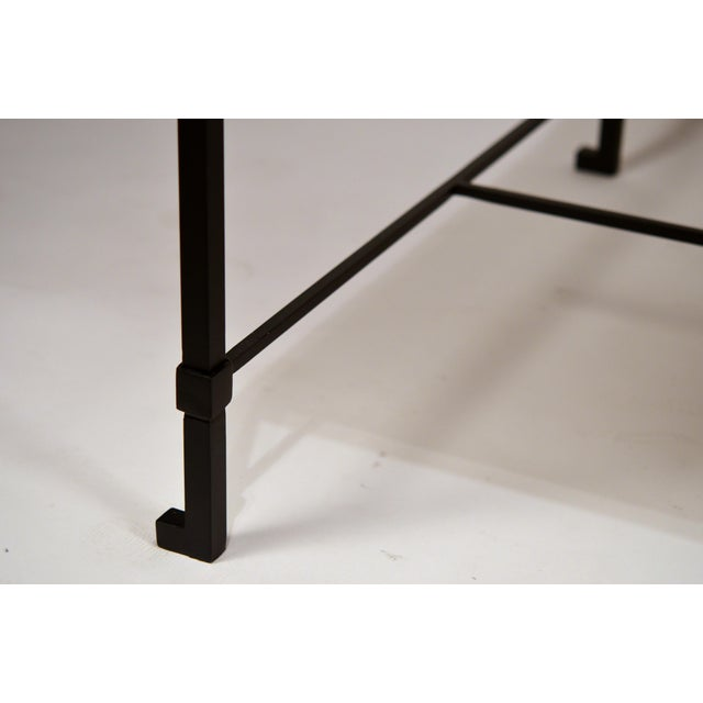 DESIGN FRERES Long 'Diagramme' Wrought Iron and Travertine Coffee Table by Design Frères For Sale - Image 4 of 7