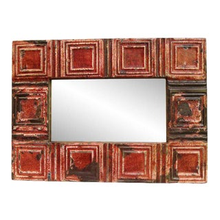 Rustic Red Tin Mirror For Sale