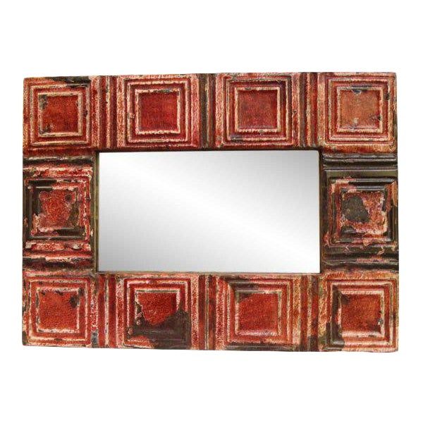 Rustic Red Tin Mirror - Image 1 of 3