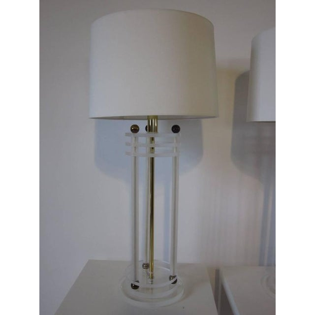 Brass and Lucite Column Table Lamps For Sale In Cincinnati - Image 6 of 7