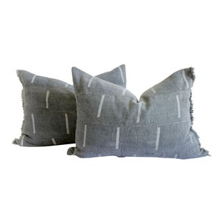 Vintage Mud Cloth Standard Sham Pillows in Gray Blue - a Pair For Sale