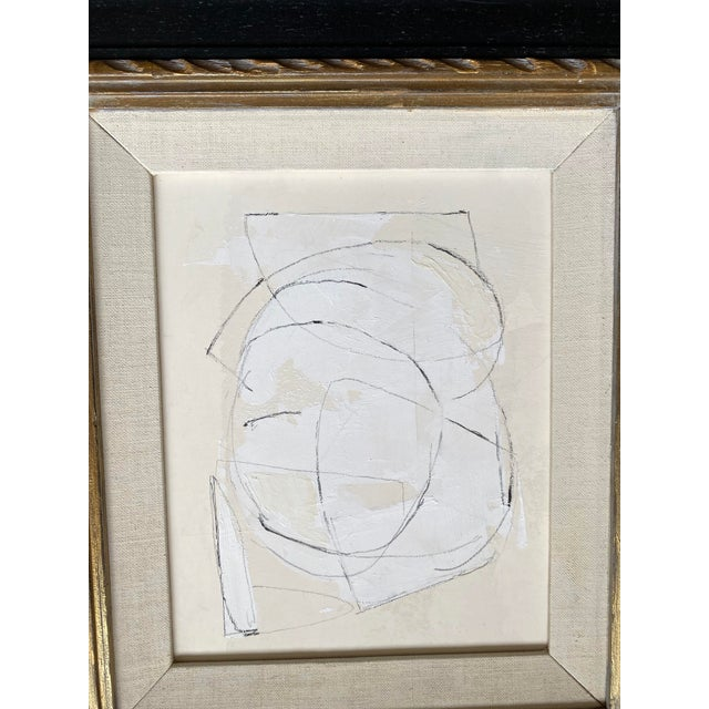Painting and charcoal by Kimberly Moore. Paint, plaster, pencil and charcoal on heavy paper. Vintage black frame with gold...