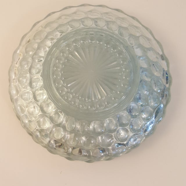 Mid-Century Modern Anchor Hocking Blue Bubble Bread and Butter Plates - Set of 3 For Sale - Image 3 of 6