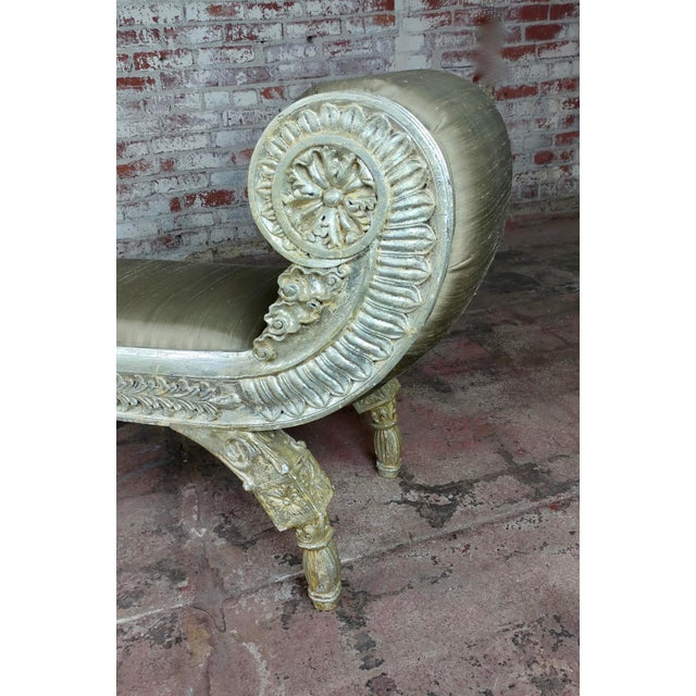 Silver Gilt & Upholstery Vintage Bed or Window Bench For Sale - Image 9 of 10