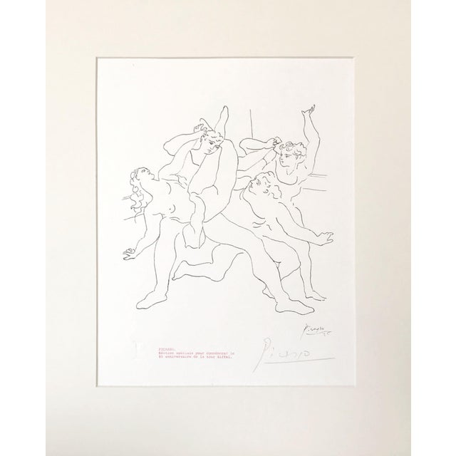 """A lithograph after the line drawing """"Four dancers"""" signed, """"Picasso"""" in pencil on the bottom right . This printing..."""