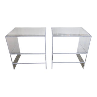 Floor Sample Lucite Nightstands Beveled Top Edges the Pair - Night Stands For Sale