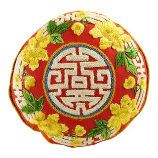 Hand Embroidered Asian Round Pillow For Sale