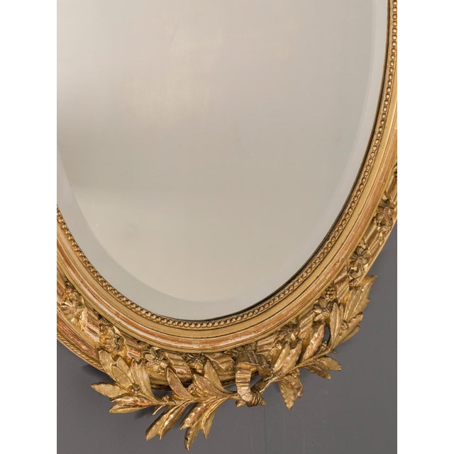 Antique French Louis XVI Style Oval Mirror circa 1890 - Image 6 of 8