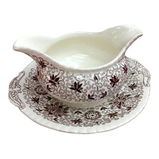 Vintage English Bow Bells Gravy Boat & Plate For Sale