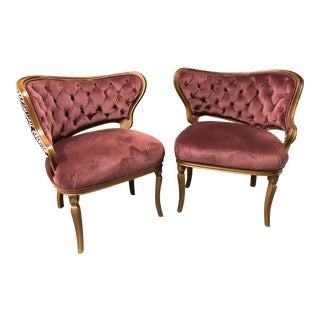 Mid Century Modern Tufted Chairs- a Pair For Sale
