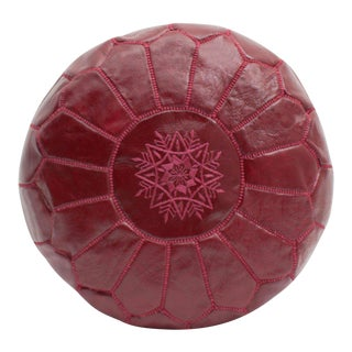 Modern Moroccan Deep Red Pouf For Sale