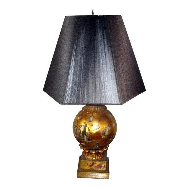 Vintage Italian Reverse Painted Table Lamp With Oriental Scenes For Sale