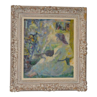 "Luigi Corbellini (1901-1968) ""The White Horse"" Original Oil Painting C.1950s For Sale"