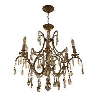 1940s Traditional Bagues Brass Chandelier