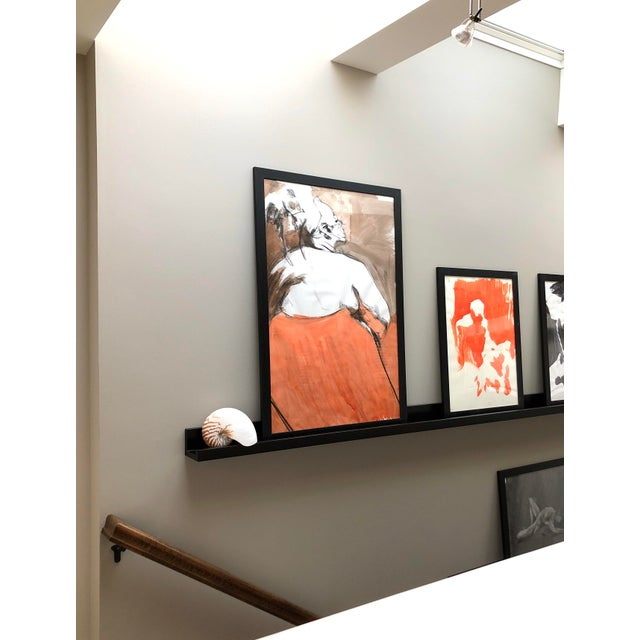 """Contemporary Figure Drawing in Orange and Black, """"Queen Gloria"""" by David O. Smith For Sale In Seattle - Image 6 of 12"""