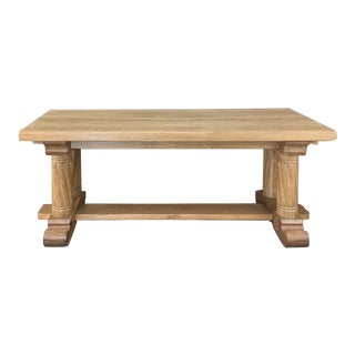 Antique Gothic Rustic Stripped Oak Dining Table For Sale