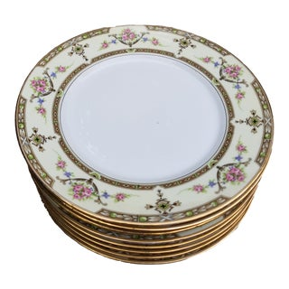 Antique Limoges Gold Rim Light Yellow Uc Dinner Plates - Set of 8 For Sale