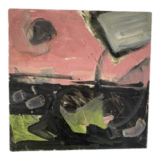 Vintage Post Modern Abstract Sgraffito Oil Painting For Sale