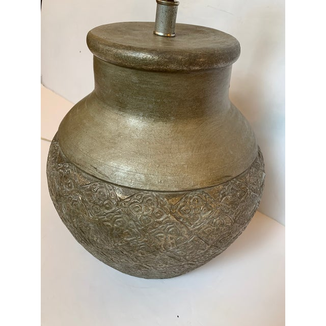 Embossed Metal Round Table Lamp For Sale - Image 10 of 13
