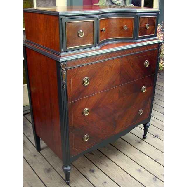 Hollywood Regency Bethlehem Furniture Vintage Mahogany & Black Highboy Dresser For Sale - Image 3 of 11