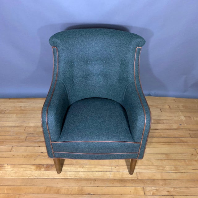 Leather Danish 1950s Armchair, Kvadrat Felted Wool & Leather For Sale - Image 7 of 10